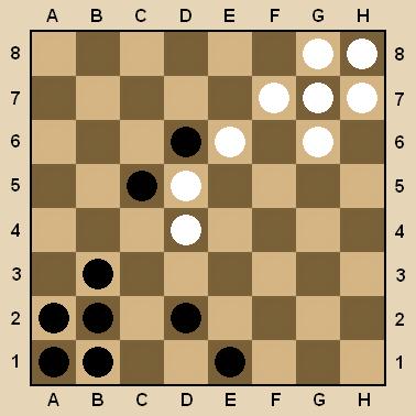 убрав свою шашку с D6